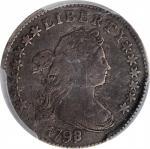 1798/7 Draped Bust Dime. JR-2. Rarity-5+. 13 Stars on Reverse. Fine Details--Scratch (PCGS).