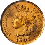 1904 Indian Cent. MS-65 RD (PCGS).