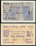 Jersey Occupation currency, World War II, 2/-, ND (1941), serial number 77518, orange and dark blue,