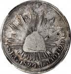 MEXICO. Hookneck 8 Reales, 1824-Go JM. Guanajuato Mint. NGC Fine Details--Chopmarked.