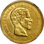 GUATEMALA. 16 Pesos, 1863-R. Nueva Guatemala Mint. NGC AU-55.