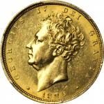 GREAT BRITAIN. Sovereign, 1825. London Mint. George IV. PCGS AU-58 Gold Shield.