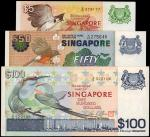 新加坡货币发行局伍、伍拾及一佰圆。SINGAPORE. Board of Commissioners of Currency. 5, 50 & 100 Dollars, ND. P-10, 13 &