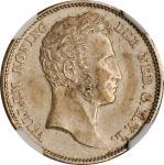 1827年荷兰东印度1/4古尔登。乌得勒支造币厂。威廉一世。NETHERLANDS EAST INDIES. 1/4 Gulden, 1827. William I. NGC MS-62.