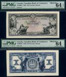 x Canadian Bank of Commerce, uniface obverse and reverse proof of $10 on card, 1935, black on multic