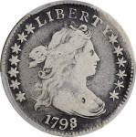 1798/7 Draped Bust Dime. JR-1. Rarity-3. 16 Stars on Reverse. Fine-15 (PCGS).