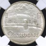 ESTONIA エストニア 2Krooni 1930 NGC-MS65 UNC~FDC