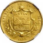COSTA RICA. 10 Pesos, 1870-GW. San Jose Mint. NGC MS-62.