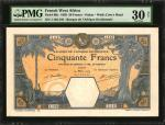 1929年法属西非银行伍拾法郎。FRENCH WEST AFRICA. Banque de LAfrique Occidentale. 50 Francs, 1929. P-9Bc. PMG Very