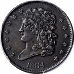 1834 Classic Head Half Cent. C-1, the only known dies. Rarity-1. AU Details--Environmental Damage (P