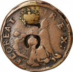 Undated (ca. 1652-1674) St. Patrick Farthing. Martin 1c.22-Ba.9, W-11500. Rarity-7-. Copper. Nothing