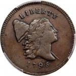 1795 Liberty Cap Half Cent. C-4. Rarity-3. Plain Edge, Punctuated Date. AU-53 (PCGS).