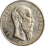 MEXICO. Empire of Maximilian. Peso, 1866-Mo. Mexico City Mint. PCGS AU-55 Gold Shield.