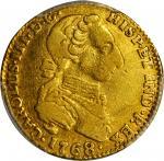 COLOMBIA. 1768-JV 2 Escudos. Santa Fe de Nuevo Reino (Bogotá) mint. Carlos III (1759-1788). Restrepo