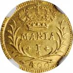 PORTUGAL. Gold 400 Reis, 1790. Lisbon Mint. Maria I. NGC MS-63.