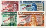 1975年英属直布罗陀1、5、10、20镑样本券共4枚,全新