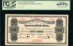 CANADA-NEWFOUNDLAND. Newfoundland Government Cash Note. 50 Cents, 1903. P-3s. Specimen. PCGS Gem New