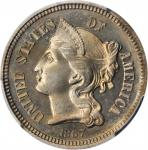 1867 Nickel Three-Cent Piece. Proof. Unc Details--Cleaned (PCGS).