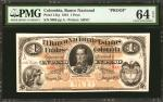 COLOMBIA. Banco Nacional. 5 Pesos, 1881. P-141p. Proof. PMG Choice Uncirculated 64 EPQ.