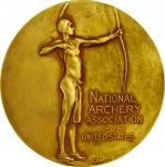 1894 National Archery Association of the United States Award Medal. Gilt Bronze. 69.9 mm. By C. E. D