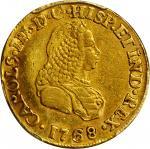 COLOMBIA.1768-J 2 Escudos. Popayán mint. Carlos III (1759-1788). Restrepo 58.12. EF Detail — Damage