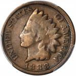 1888/7 Indian Cent. Snow-1, FS-301. Good Details--Damage (PCGS).