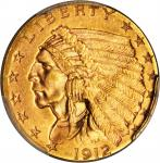 1912 Indian Quarter Eagle. MS-64 (PCGS).