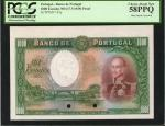 PORTUGAL. Banco de Portugal. 1000 Escudos, ND (17.9.1929). P-145p. Proof. PCGS Choice About New 58 P