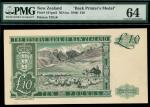 Reserve Bank of New Zealand, partially hand executed reverse composite essay for an unadopted £10, N
