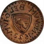 1623 (i.e. 1860s) Novum Belgium Copper Fantasy Obverse Die by C. Wyllys Betts on the Obverse of a ca