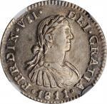 MEXICO. 1/2 Real, 1811-Mo HJ. Mexico City Mint. Ferdinand VII. NGC MS-62.