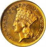 1868 Three-Dollar Gold Piece. MS-64 (PCGS).