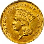 1857-S Three-Dollar Gold Piece. AU-58 (PCGS).