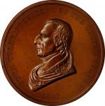 1841 John Tyler Indian Peace Medal. Large Size. Bronze. 76 mm. Julian IP-21. Second Reverse. Choice