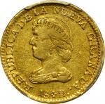 COLOMBIA. 1842-UM 2 Pesos. Popayán mint. Restrepo 202.3. EF-45 (PCGS).