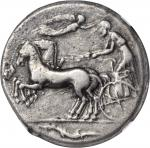 SICILY. Syracuse. Second Democracy, 466-406 B.C. AR Tetradrachm (17.02 gms), ca. 440-420 B.C. NGC VF
