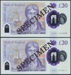 Bank of England, Sarah John, polymer £20, ND (20 February 2020), serial number AA01 000268/271, purp