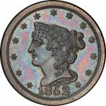 1852 Braided Hair Half Cent. First Restrike. Small Berries Reverse. Breen 1-B. Rarity-5. Proof-65+ B
