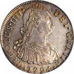 Peru. 1794-L IJ 8 Reales. Lima Mint. KM-97, Cal-Type 76 #648. MS-63+ (PCGS).
