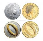 13649  2003年新西兰指环王纪念金银币各一枚,原盒,带证书