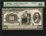 COLOMBIA. El Banco Central. 100 Pesos, 1907. P-S372fp. Proof. PMG Choice Uncirculated 64.