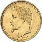 FRANCE Second Empire / Napoléon III (1852-1870). Essai de 25 francs - 10 florins tête laurée par Bar