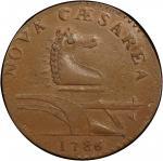 1786 New Jersey copper. Maris 14-J. Rarity-1. Straight Plow Beam. MS-62+ BN (PCGS).