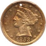 1853-D $5 Liberty. PCGS UNC