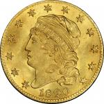 1820 Capped Head Left Half Eagle. Bass Dannreuther-7. Rarity-7. Curl Base 2, Large Letters. MS-65+ (