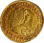 COLOMBIA. 1761-JV 2 Escudos. Santa Fe de Nuevo Reino (Bogotá) mint. Carlos III (1759-1788). Restrepo