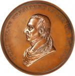 1841 John Tyler Presidential Medal. Bronze. 62 mm, 5.4 to 5.6 mm thick. Julian PR-8. Mint State.