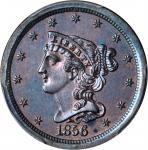 1856 Braided Hair Half Cent. B-1. Rarity-7 as a Proof. Proof-64 BN (PCGS). CAC.