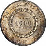 BRAZIL. 1000 Reis, 1866. Peter II. NGC MS-65.