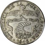 COLOMBIA. 1843-RS 8 Reales. Bogotá mint. Restrepo 194.9. AU-53 (PCGS).